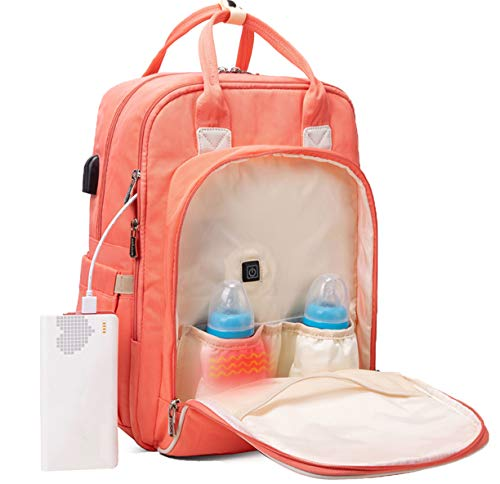 Diaper Bag Backpack with Fast Bottle Warmer for Breast Milk - Travel Baby Bag
