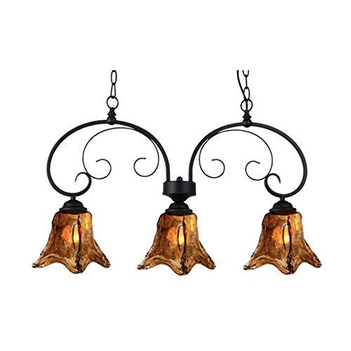 Style Chandelier Tiffany Island - Antique Tiffany Style Glass Chandelier E26, Amber Shade Pendant Light Vintage Decor Dining Table Living Room Pendant Lighting-3-lights 70x36cm
