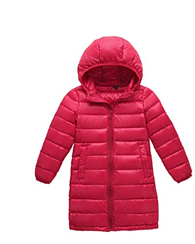 Anyu Girls Long Hooded Down Jacket Lightweight Coat Outwear Red