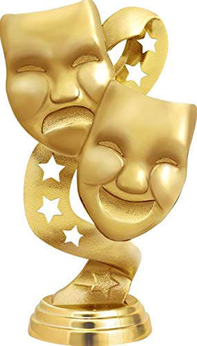 Red Stars Drama Masks with Stars Trophy Award with Customized Engraving Drama Masks with Stars Trophies