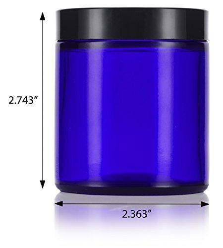 Small Balm Jar 4 Oz + Labels 12 Pack Trend Mark Cobalt Blue Glass Straight Sided Jar