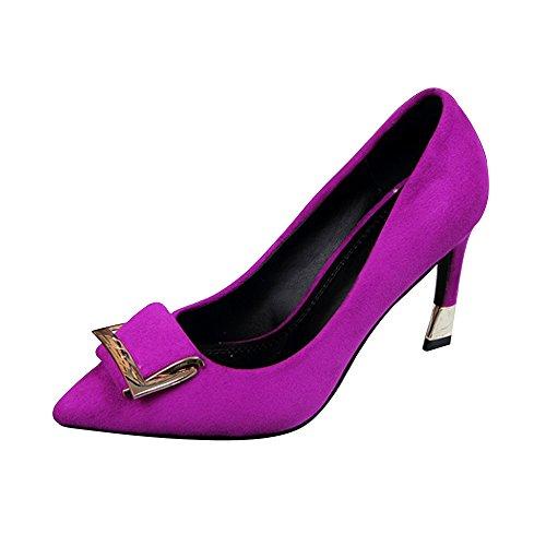 OCHENTA Mujeres Zapatos de tacón Alto la Altura del talón 7CM Elegante Trabajo de la Boda Morado