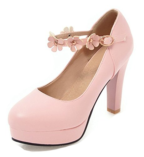 Aisun Womens Fashion Flower Buckled Round Toe Dressy High Chunky Heel Platform Pumps Shoes With Ankle Strap Pink JoLcyig7