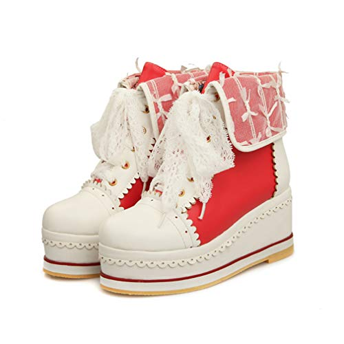 HILIB Women's Cute Lolita Boots Cosplay Brogue Wedge Boots Red -