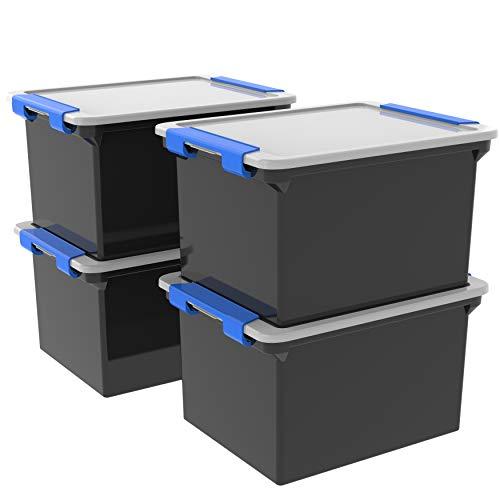 (Storex Storage File Tote with Locking Handles, Black/Silver, 4-Pack (61543U04C))