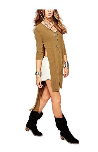 Camicia Irregolare 3 Casuale Pullover Beige Vestito Arjosa Manica Delle Bordo 4 Donne Girocollo xAEwgXRq8