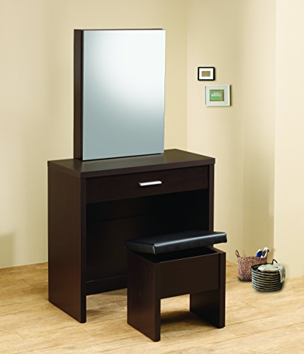 (2-piece Vanity Set with Hidden Mirror Storage and Lift-Top Stool Cappuccino and Black)