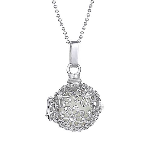 FM FM42 Openable Flower Pattern Ball Locket with 3 Colors Glow in the Dark Balls Pendant Necklace GN1166