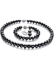 Kaitlyn Black 8-9mm A Quality Freshwater 925 Sterling Silver Cultured Pearl Set For Women