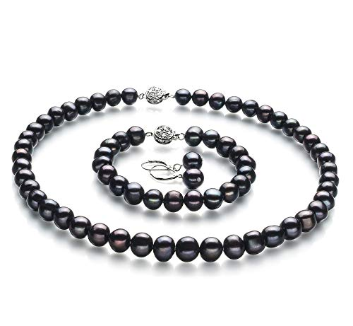 Kaitlyn Black 8-9mm A Quality Freshwater 925 Sterling Silver Cultured Pearl Set For Women-16 in Chocker length ()