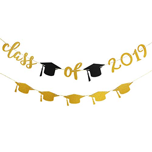 Gold Glittery Class of 2019 Banner and Gold Glittery Graduation Cap Garland -Graduation/Grad Party Decorations -