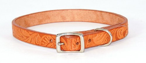 Hamilton 1″ x 24″ Floral Western Tooled Leather Collar, My Pet Supplies