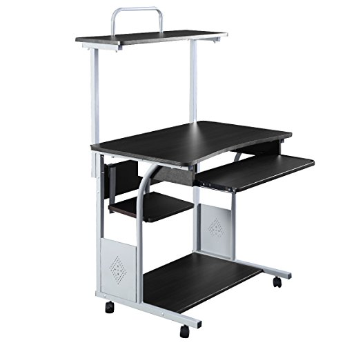 Goplus Computer Desk w/Printer Shelf Stand Rolling Laptop Home Office Study Table