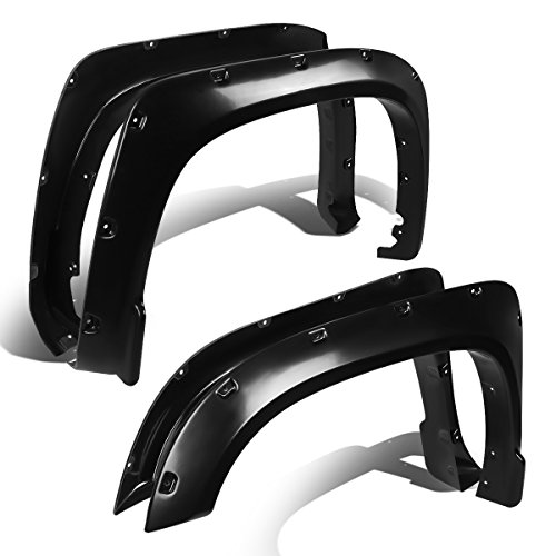 For 14-17 Tundra Smooth Textured Pocket-Riveted Style Side Fender Wheel Flares - 4pc (Black)