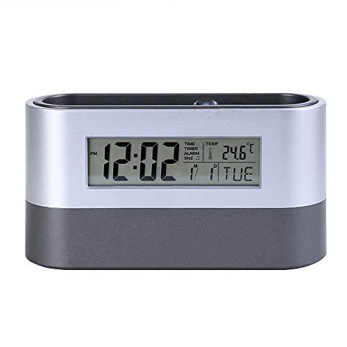 Alarm Clock Pencil Holder Digital Calendar Pen Pencil Holder with Thermometer Calendar Alarm Clock Function for Desk Office Stationery Organiser ()