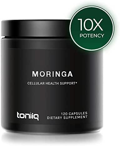Single Origin Non-GMO Moringa Leaf Capsules - Highest Content of Protein, Saponins, Glycosides and Flavonoids - 10,000mg 10x Concentrated Moringa Oleifera Powder Extract - 120 Capsules