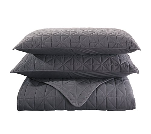Exclusivo Mezcla 3-Piece Queen Size Quilt Set with Pillow Shams, as Bedspread/Coverlet/Bed Cover(Solid Steel Grey) - Soft, Lightweight, Reversible and Hypoallergenic