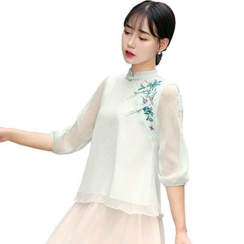 25996240f Shanghai Story 3/4 Sleeve Women's Shirt Chinese Blouse Chiffon Cheongsam Top