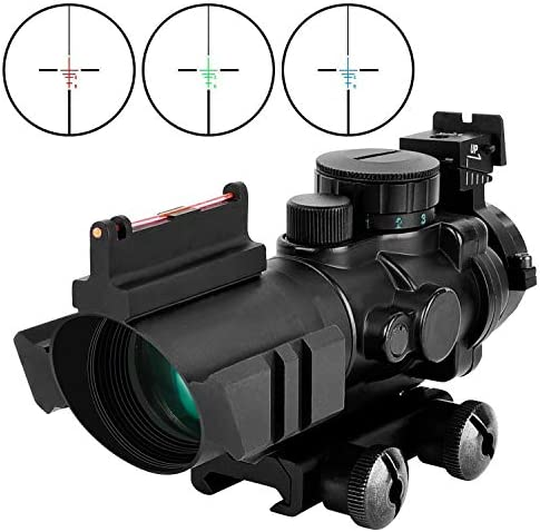 MidTen Tactical Rifle Scope 4×32 Illuminated Reticle Hunting Guns Scope with Mount for 20mm Rail
