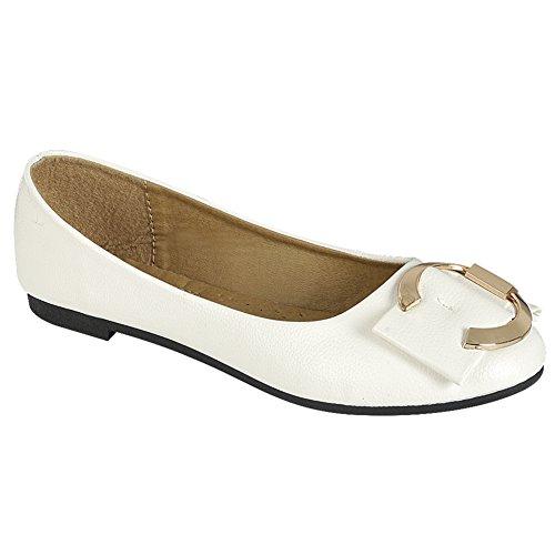 Snj Women Comfort Slip On Round Toe Con Fibbia Luccicante Balletto Piatto Bianco Pu