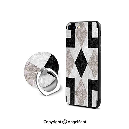 Protector for iPhone 7/8 with 360°Degree Swivel Ring,Nostalgic Marble Stone Mosaic Regular Design with Alluring Elements Image,Ultra Thin Slim Cover Case,Black Beige