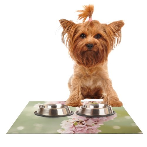 Kess InHouse Catherine McDonald Cherry Blossom  Feeding Mat for Pet Bowl, 18 by 13-Inch