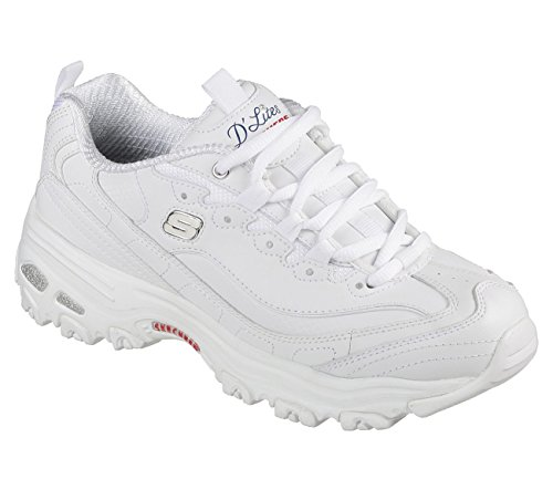 Skechers Women's D'Lites - Fresh Start White/Navy/Red 6.5 B US