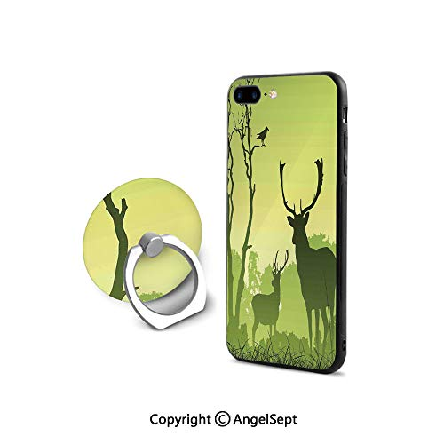 Protective Case for iPhone 8/iPhone 7 with Ring Holder Kickstand,Male Deer on a Meadow with Trees and Crow Bird Woodland Mist Rural Green Country,Shockproof Protection,