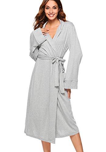 Etosell Women's Robe Long Kimono Soft Sleepwear Bathrobe Autumn Winter Warm Loungewear with Pockets (Jersey Kimono)