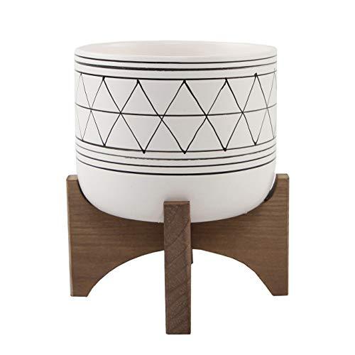 Flora Bunda 5 White Black Ceramic Geometric W/Wood Stand Planter Mid Century