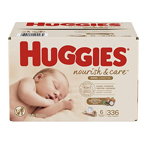 Huggies Nourish & Care Baby Wipes, Cocoa and Shea Butter, Water-Based, 6 Flip-Top Packs, 56 Count (336 Wipes Total)