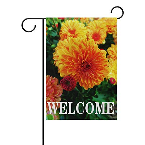 AoshangGardeflag Welcome Floral Flower Zinnia Garden Flag 12 X 18 Inches, Spring Summer Double Sided Outdoor Yard Yall Garden Flag for Wedding Party House Home Decor