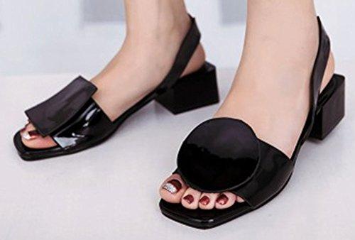 Easemax Womens Patent Trendy Medio Dikke Hak Open Teen Slingback Slip Op Sandalen Zwart