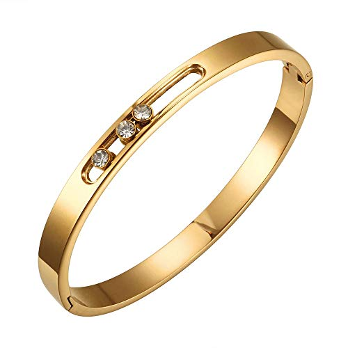 Designer Inspired Titanium Steel Luxury Love Bracelet with Sliding Swarovski Crystals (Gold)