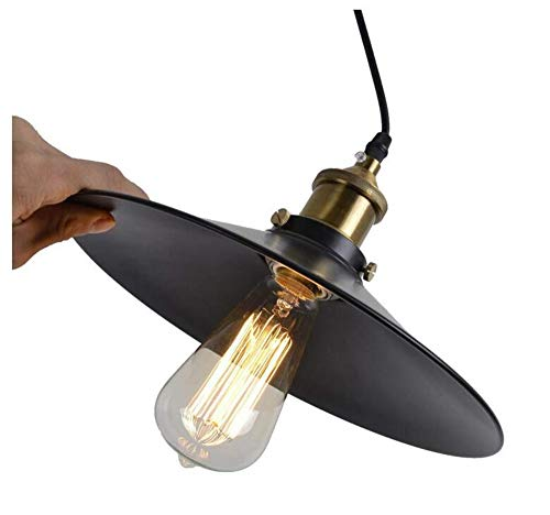 Retro Pot-lid Pendant lamp Black 22cm Adjustable Valley lamp Industrial Antique Farmhouse Wall lamp Indoor Bedroom lamp ()