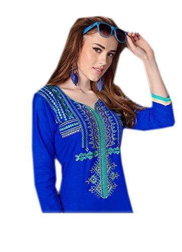Jayayamala Nouveau Design Femmes Bleu Georgette Tunique Scoop Neck Multi Couleur Top Brodé