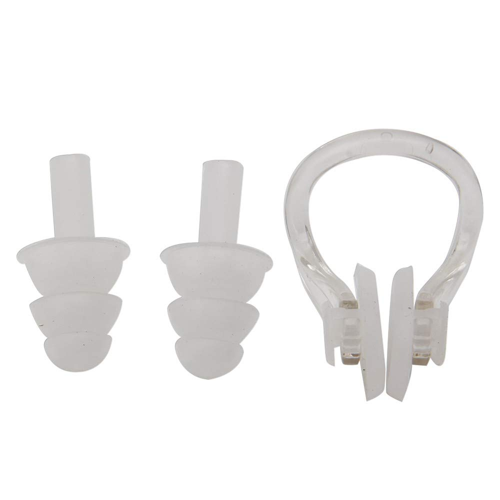 Hoiert Swimming Waterproof Soft Silicone Set Soft Nose Clip + Ear Plug Earplug Tool White