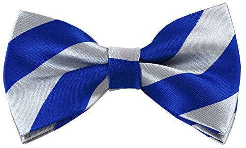Vincent Apparel Collegiate Stripe Pre-Tied Bow Ties (Multiple Colors) (Royal Blue and Silver) ()