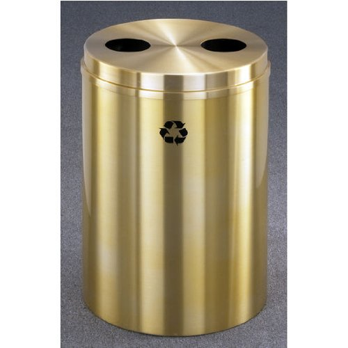 Recycle Receptacle Glaro (Glaro RecyclePro Satin Brass Cover Dual Purpose Recycle Receptacle w/ Cans/Waste Message in Burgundy Finish, Shown in Satin Brass with Many Other Finishes Available)