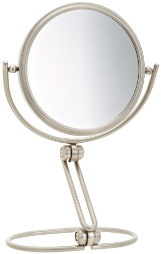 Jerdon MC339N 5.5-Inch Folding Travel Mirror with 7x Magnification and Velveteen Storage Pouch, Nickel Finish ()