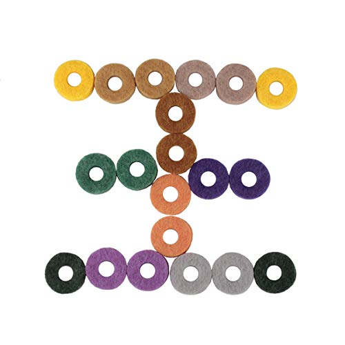 HEALLILY 20pcs Felt Washers Bass Drum Silencer Strap Button Drumming Practice Pad Cymbal Felt Pads Cymbals Accessory 2.5 x 2.5 x 0.8cm