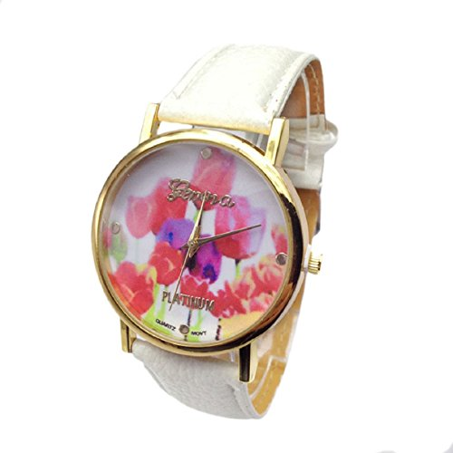 Bestpriceam® Colorful Rose Flowers Gold Dial Leather Band Quartz Wrist Watch White