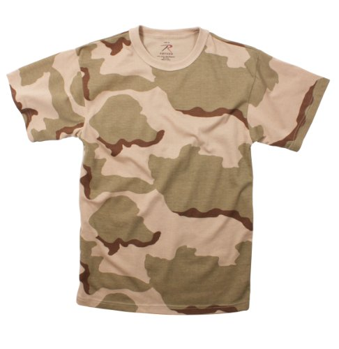- Tri-Color Desert Camouflage Military T-Shirt (Polyester/Cotton) Size X-Large