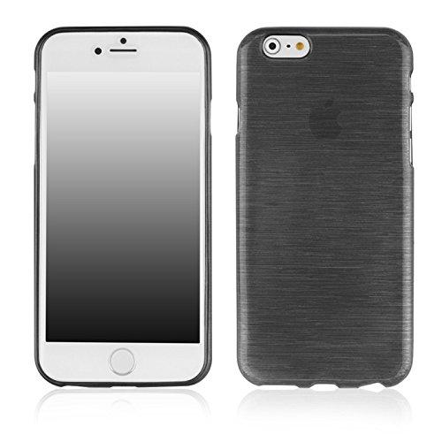Coque2mobile ® Silikon TPU Hülle Etui Tasche Gel Case Hülle Cover für Apple iPhone 6 (11,9 cm 4,7 Zoll), schwarz, Metallic Black
