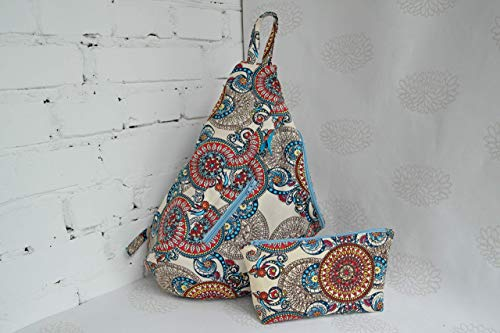 Aztec print cotton backpack, Knit on the go bag, Knitting project bag, Knitting supplies by KnittedDreamsbyEva