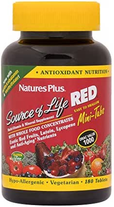 Natures Plus Source of Life Red - 180 Mini Tablets - Exotic Superfood Supplement, Multivitamin, Antioxidant, Anti Aging, Energy Booster - Vegetarian, Gluten Free - 30 Servings
