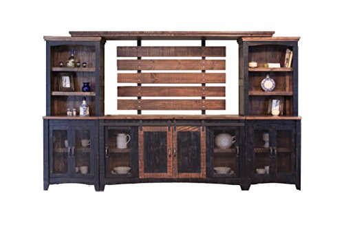 - RR Black Anton Sturdy Solid Wood Farmhouse Style Sliding Barn Door Anton Entertainment Center Wall Unit - Will Fit a 70 Inch Television