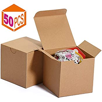 Brown Cardboard Kraft Tuck Top Gift Boxes with Lids for Gifts 3x3x3 10 Pack