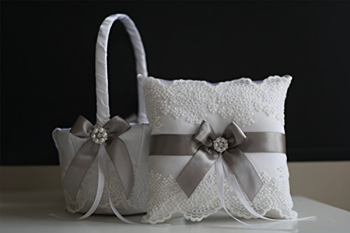 Alex Emotions White Gray Flower Girl Basket and Ring Bearer Pillow Set Lace Collection | Gray Wedding Basket | Gray Ring Pillow | Gray Ring Holder (Collection Ring Lace)