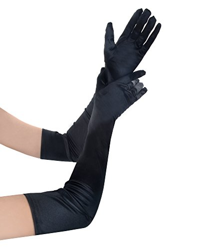 (JISEN Women Formal Bridal Satin Banquet Party Wedding Opera Gloves Gift Long 22 Inch Black)